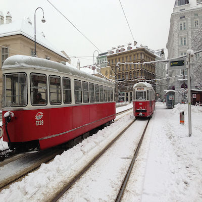 Trams at the Volkstheater, Vienna
