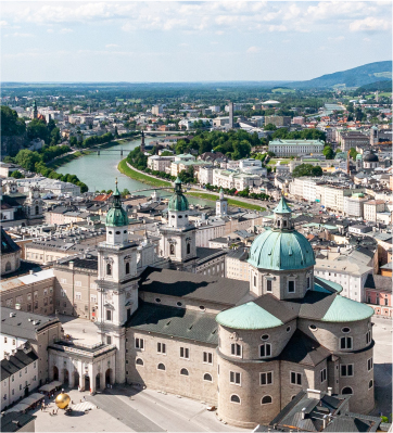 A view of Salzburg with the river and a church