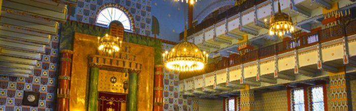 The chandeliers inside the Kazinczy Street Synagogue, Budapest