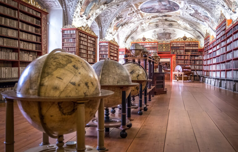 row of globes in old library