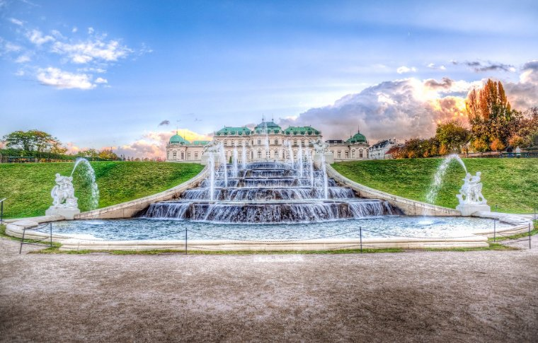Cascade fountains in front of Belvedere Palace.