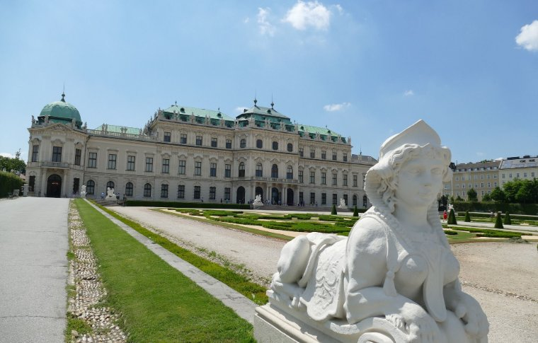 A sculpture in front of Belvedere Palace.
