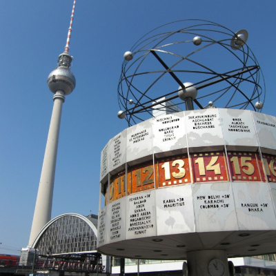 The Berlin clock with the Berlin TV tower in the background