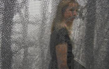 A woman behind a net installation.