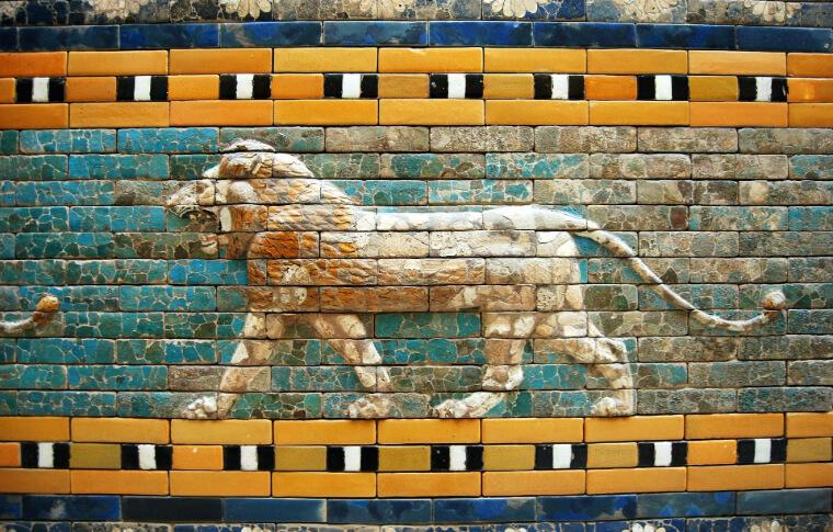 lion painted onto bricks