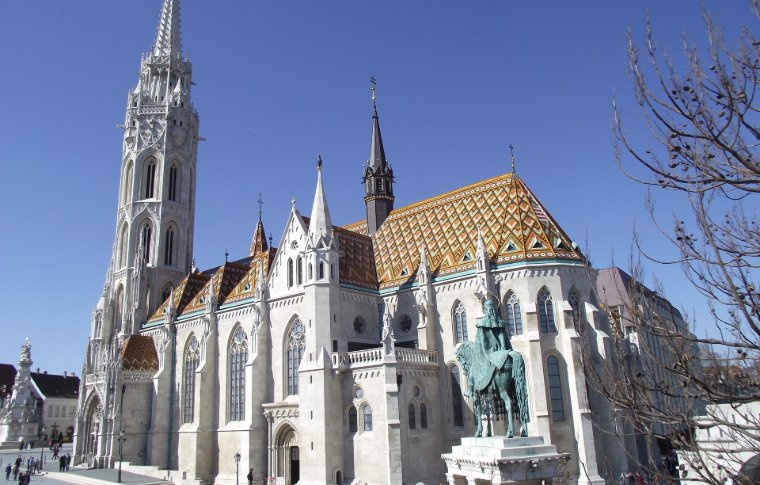 white church with colourful tiles