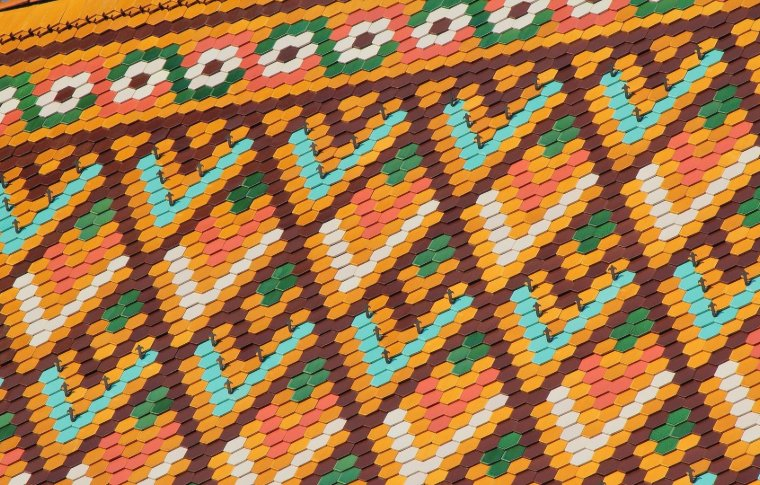colourful tiles in geometric pattern