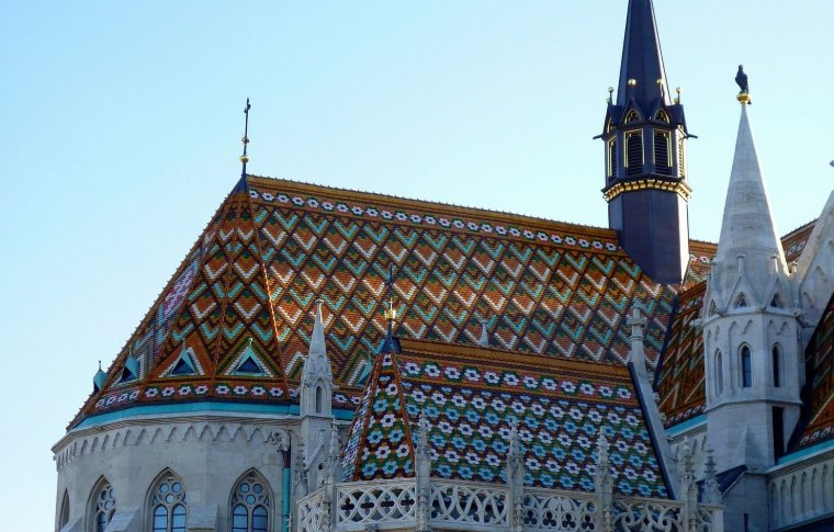 colourful tiled church in geometric pattern