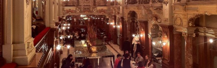 Inside New York Cafe, Budapest, resembles the inside of a theater.