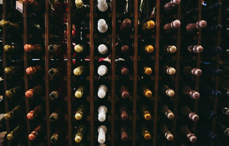 shelf of wine bottles