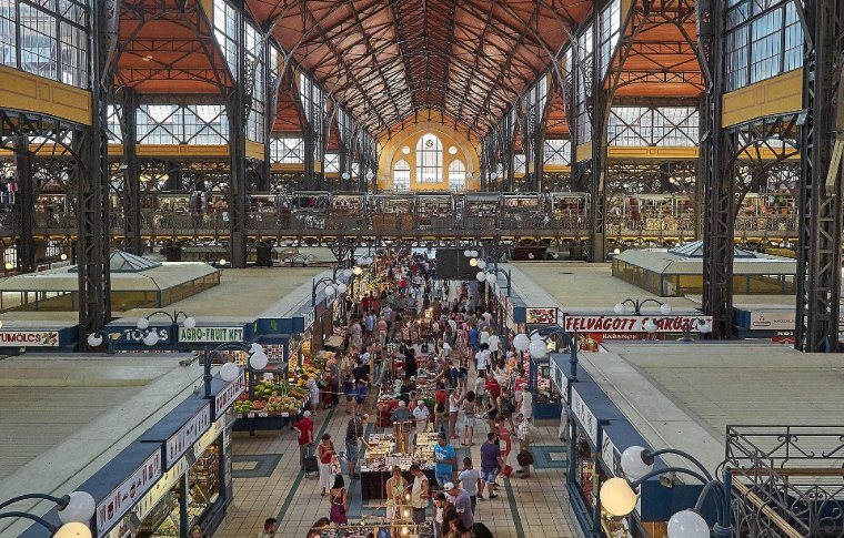 aerial view of large indoor market with high ceiling
