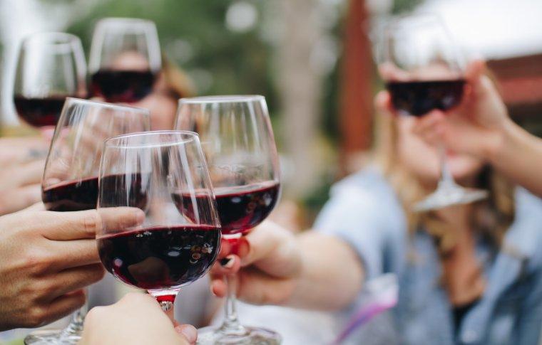 group of people cheersing red wine
