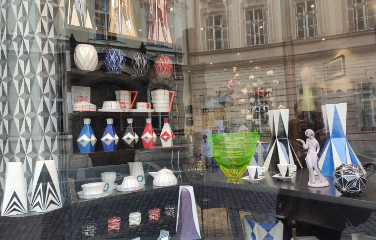 shop window with small modern design objects such as a kettle