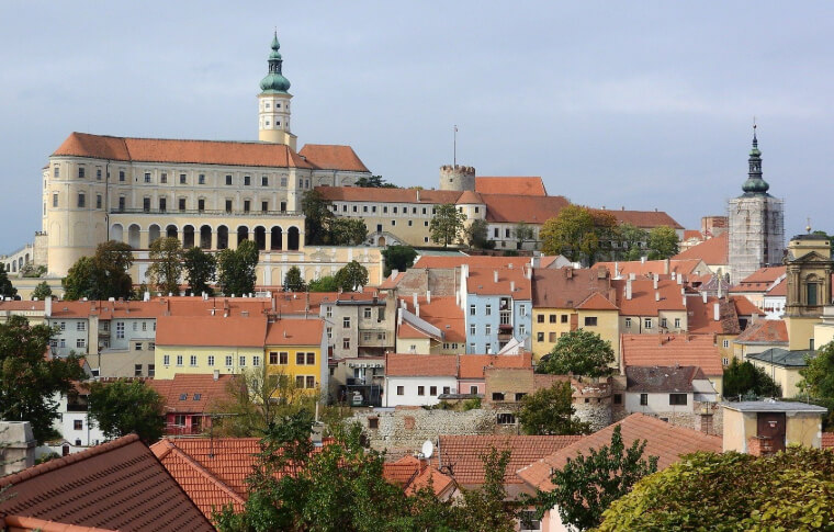 aerial view of traditional medieval town with red tiles