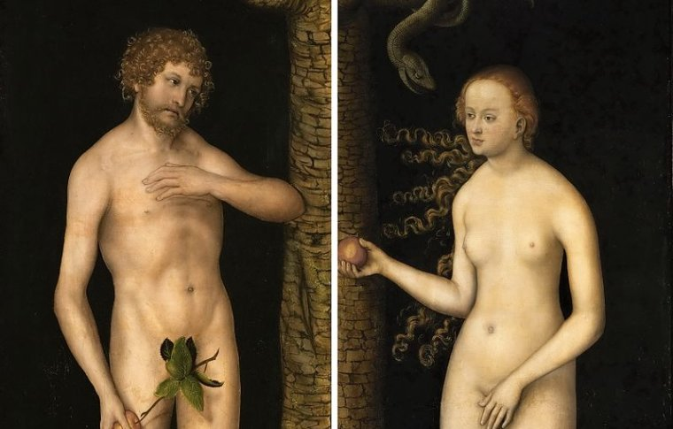 painting of adam and eve with eve holding the apple