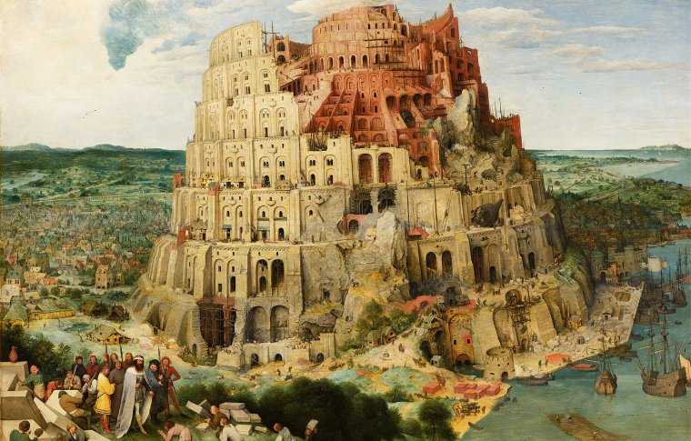painting of large castle built into mountain