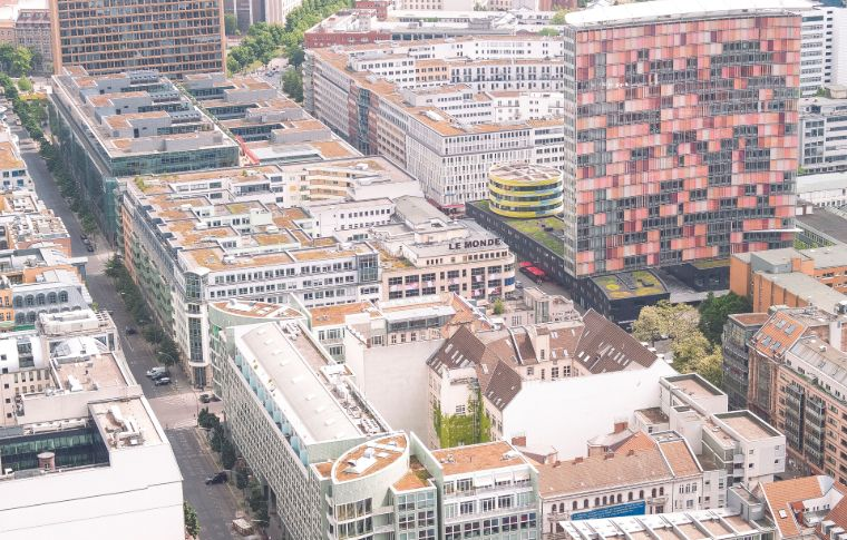rooftops and street art seen from above