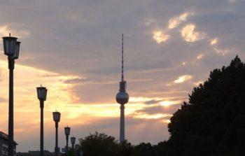 Fernsehturm Berlin against the sunset