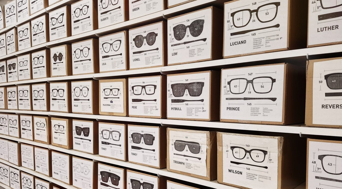 various boxes with images of different eyeglasses
