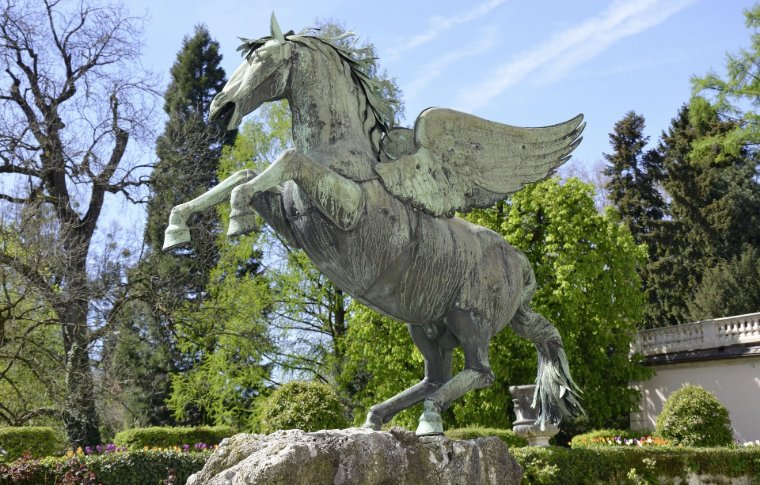 statue of horse with wings and front legs raised