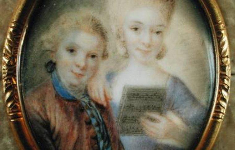 painting of 2 children holding music sheet
