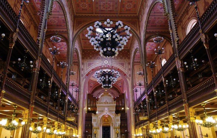 The chandeliers inside the Dohány Street Synagogue.