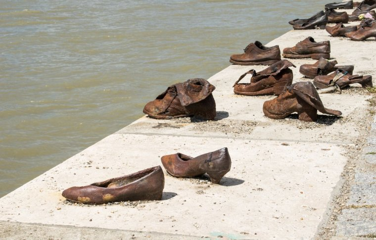 The shoe memorial in Budapest.
