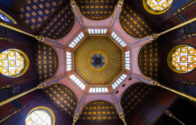 The roof of the art nouveau Orthodox synagogue in Kazinczy Street.