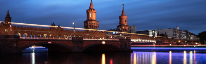 The Oberbaumbruecke lit up, at night.