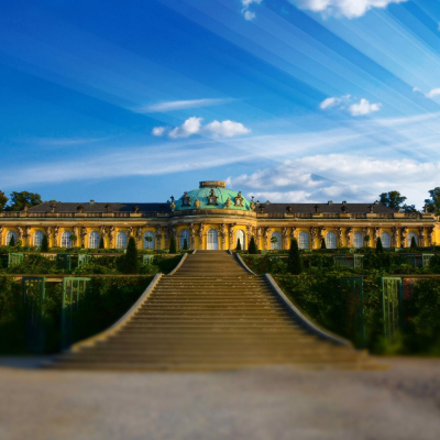 Stairs to the Sanssouci palace from the garden
