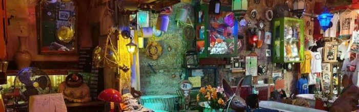 Eccentric lamp shades, furniture and decoration in the ruin bars.