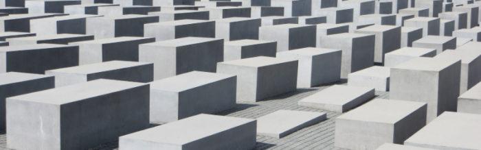The grey concrete blocks of Berlin's Holocaust memorial.