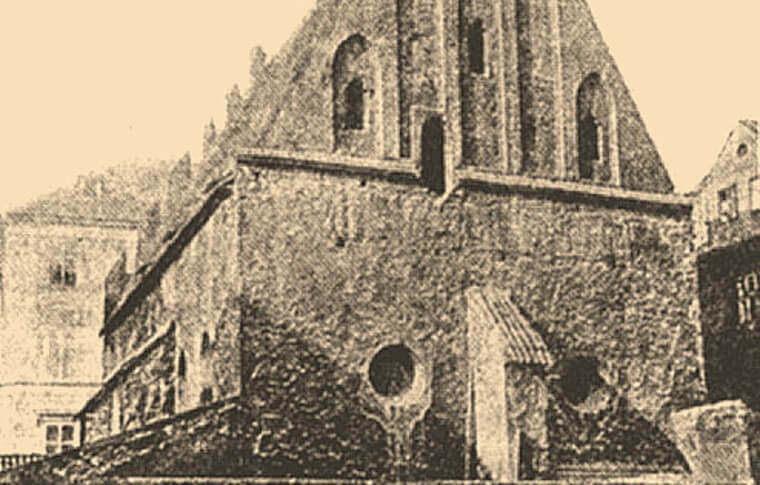 old black and white image of synagogue with some dilapidation