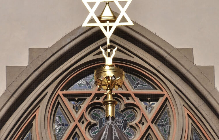 window in the shape of the star of david