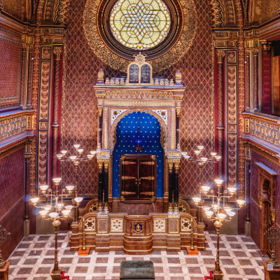 interior of synagogue with candles and red walls