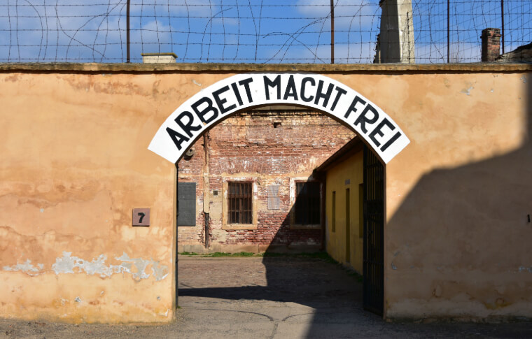 entrance into prison with german writing