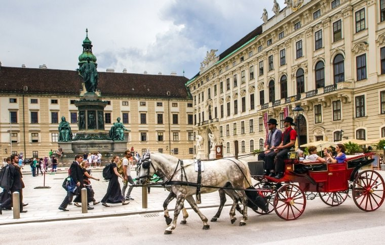 horse and carriage riding past palace in snow