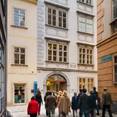 Tour group in a narrow street in Vienna