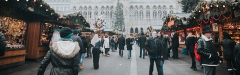 A Christmas market in front of Rathaus, Vienna's City Hall.