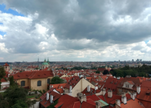 Panorama of Prague on a Cloudy Day