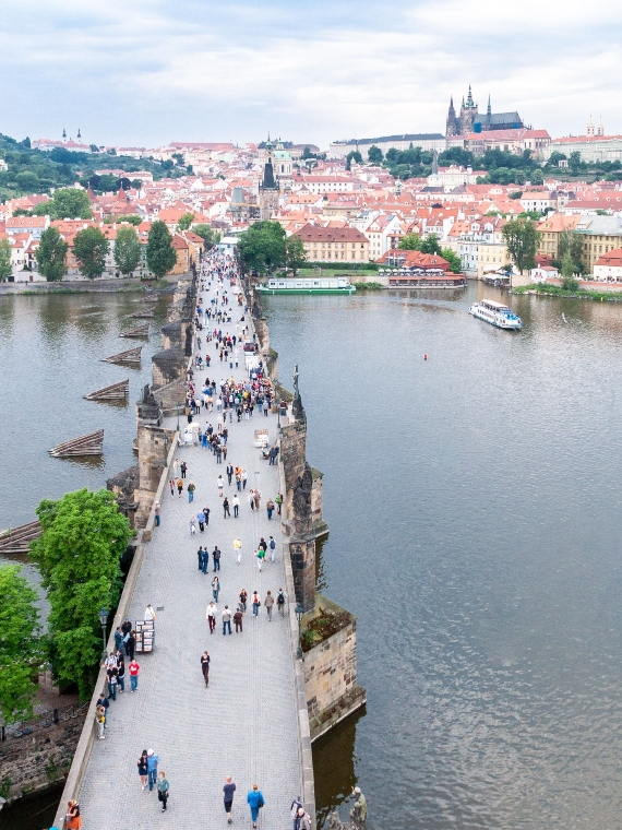 a view of Charles' bridge in Prague from above