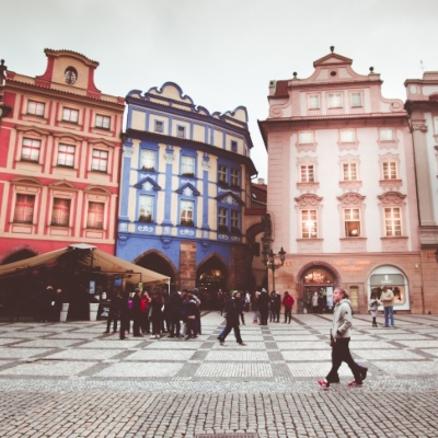 passers-by on a square in Prague