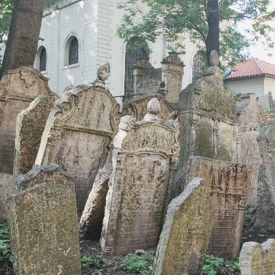 old inclined grave stones