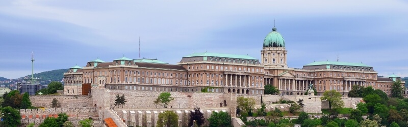 view of a palace in Budapest from the other side of the river